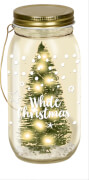 LED-Licht im Glas - White Christmas
